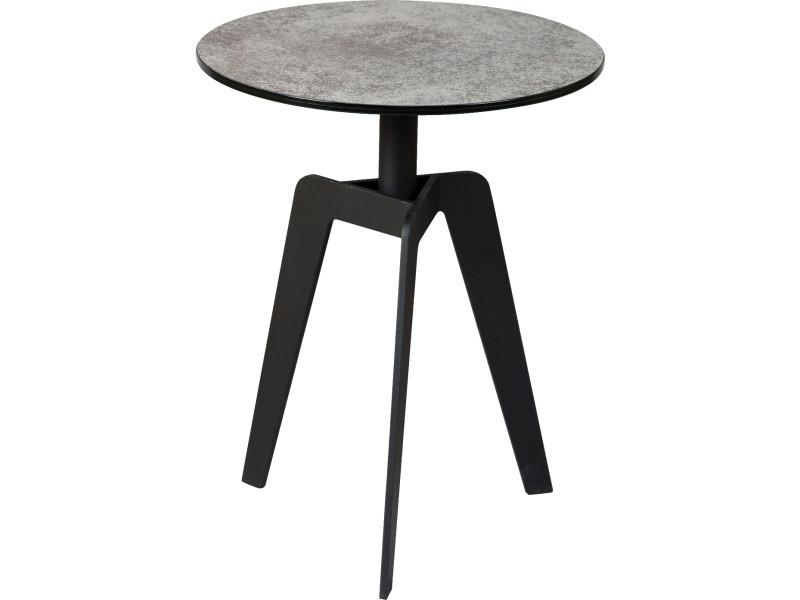 Table basse en acier gris anthracite mat (démontée) - dim : ø.40 x ht.50 cm -pegane-