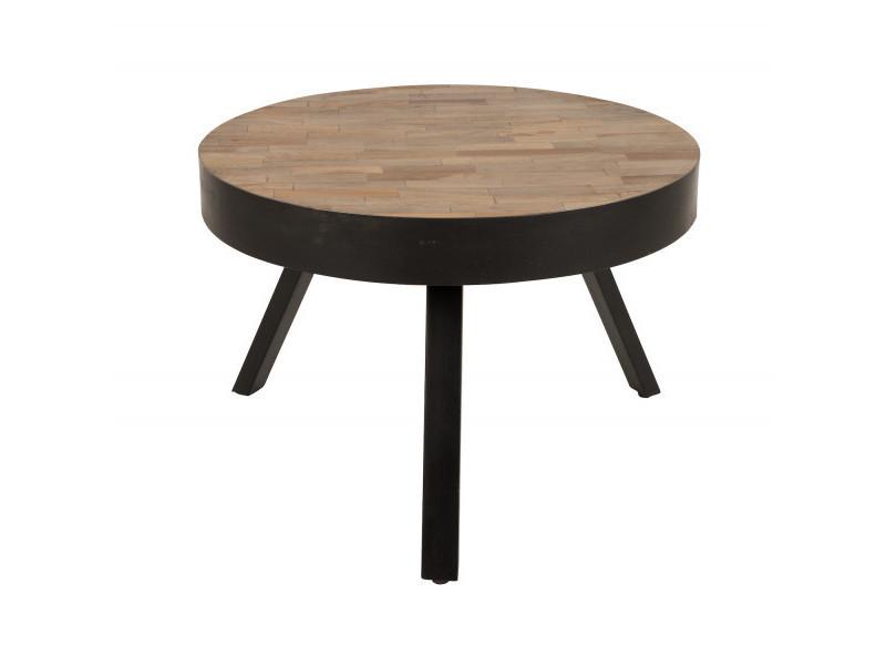 Table Basse Ronde ø58 Cm En Teck Recyclé Suri Medium Couleur