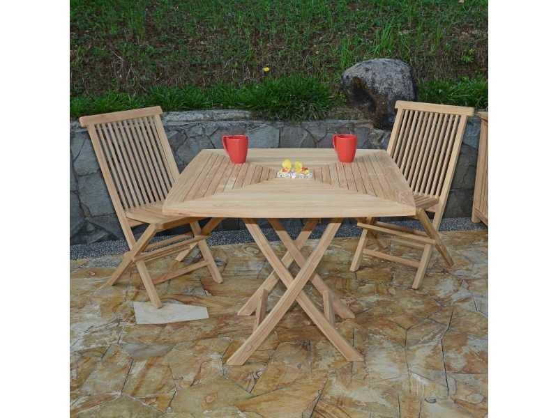 Salon de jardin en teck ecograde malo, table pliante carrée 90 x 90 ...