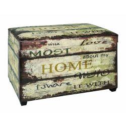 Coffre de rangement mdf/simili cuir multicolore motif vintage 40 x 65 x 42 cm