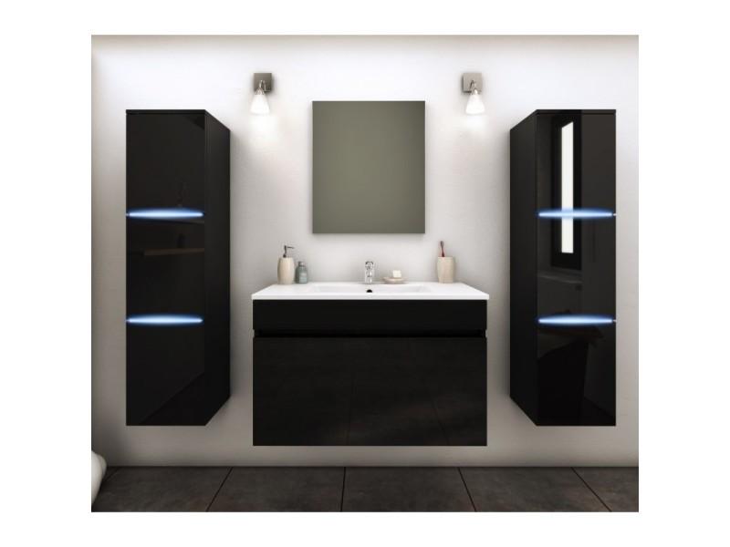 Meuble De Salle De Bain Simple Vasque 80 Cm 2 Colonnes Avec Led Noir Lazia L 80 X L 46 X H 50 Vente De Ma Maison Mes Tendances Conforama