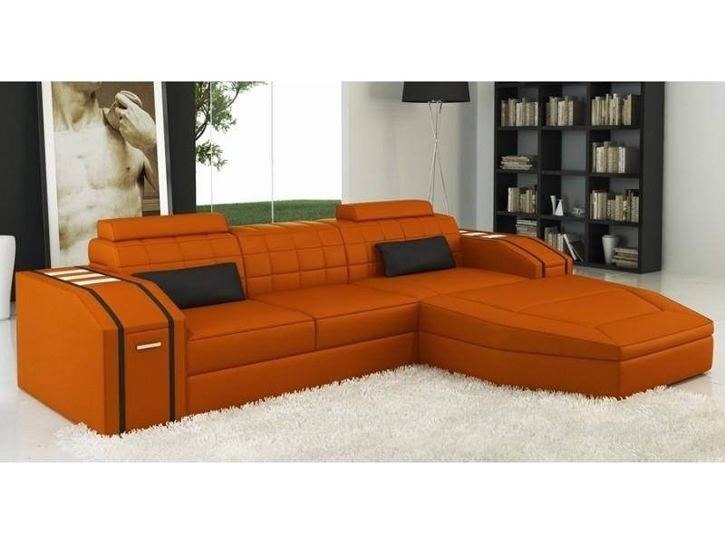 Canapé d'angle cuir design orange et noir jupiter-