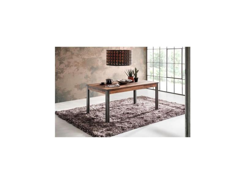 Prime table a manger 6 personnes - décor bois patiné gris - l 160 cm