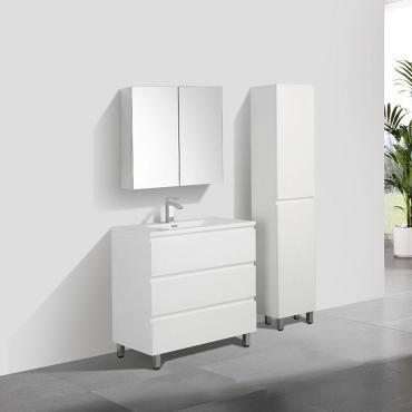 Meuble Salle De Bain Design Simple Vasque Verona Largeur 90 Cm Blanc Laque Vente De Salle De Bain Pretes A Emporter Conforama