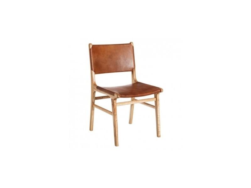 Chaise naturelle bois et cuir lisse