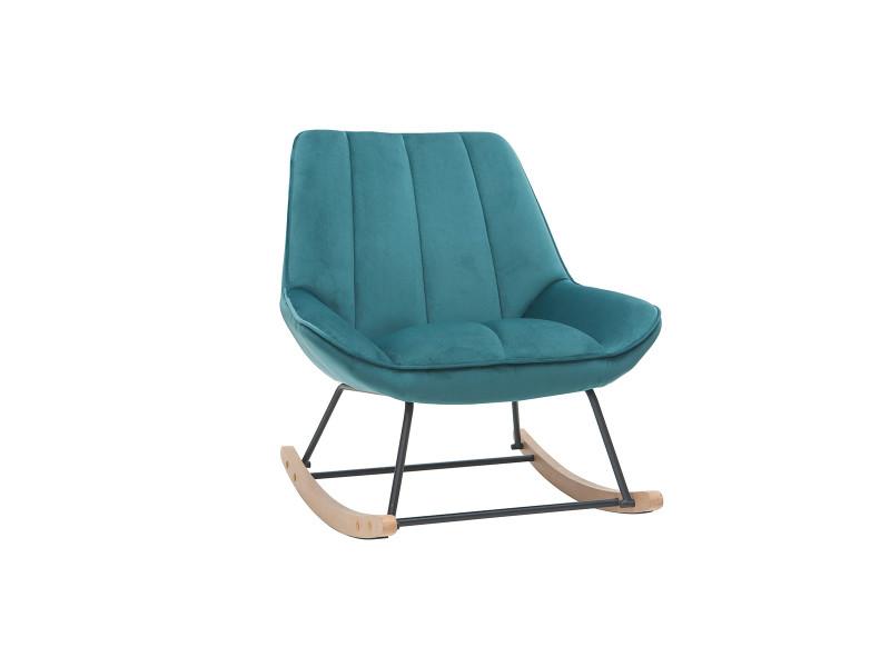 Rocking chair design en velours bleu pétrole billie