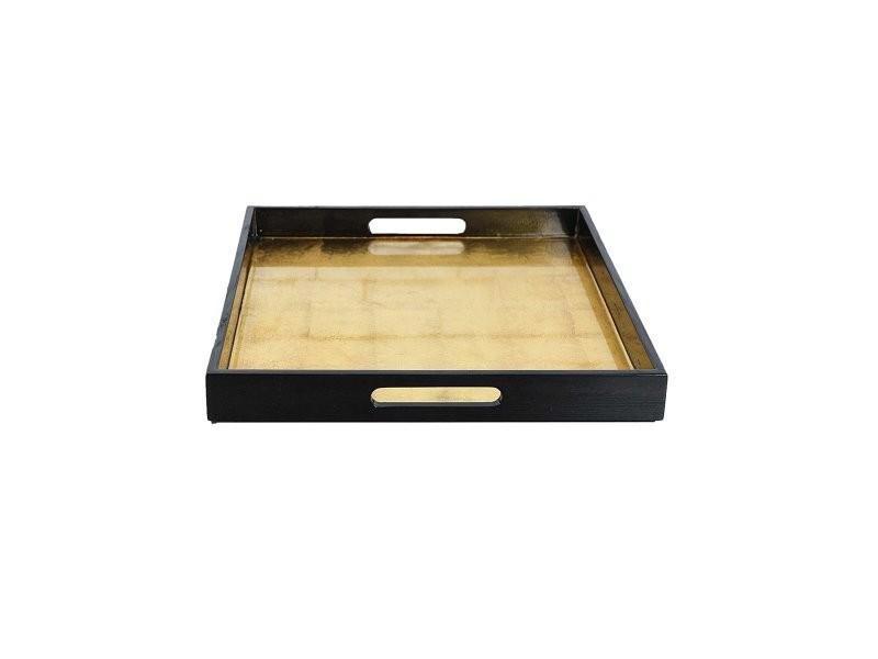 Plateau carré laqué set de 3 shiga - noir/or - mm