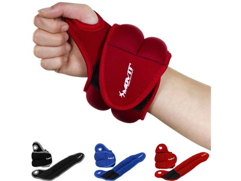 Movit® jeu de 2 poids de 0,5kg lestés pour poignets en néoprène rouge avec boucles pour le pouce