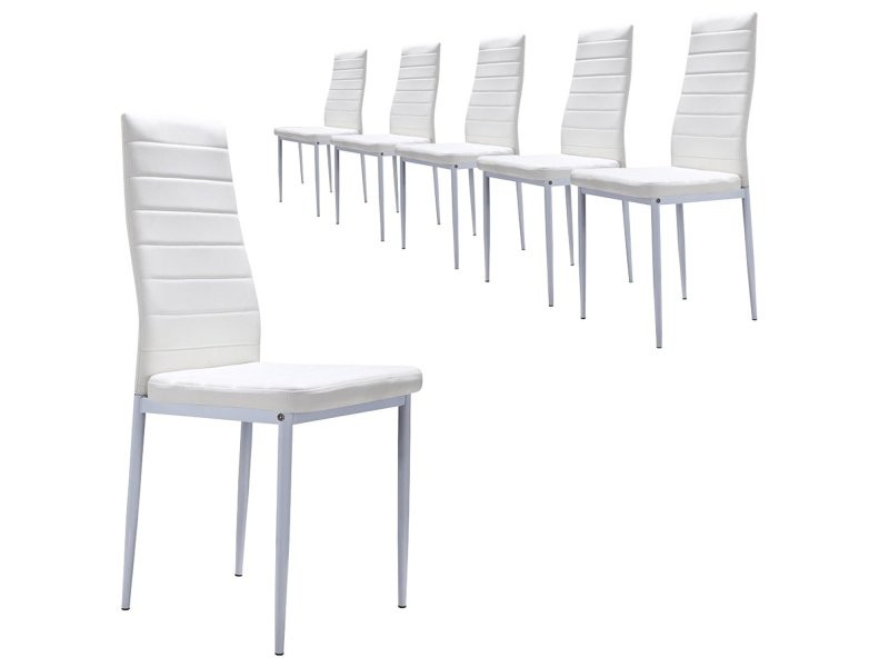 Lot de 6 chaises en simili cuir (lot de 6, blanc)