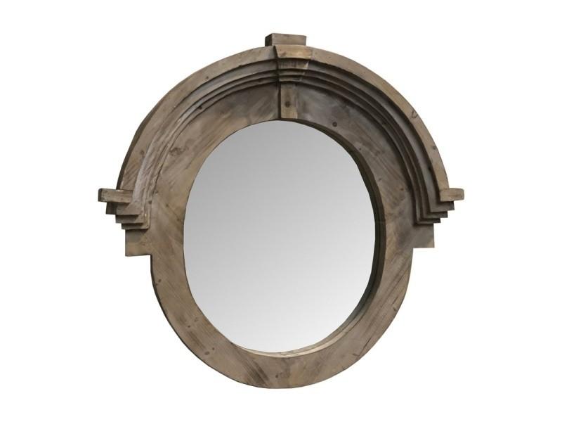 Grand Miroir Oeil De Boeuf Chapeau De Gendarme Bois 105 Cm X 99 Cm Vente De Miroir Mural Conforama