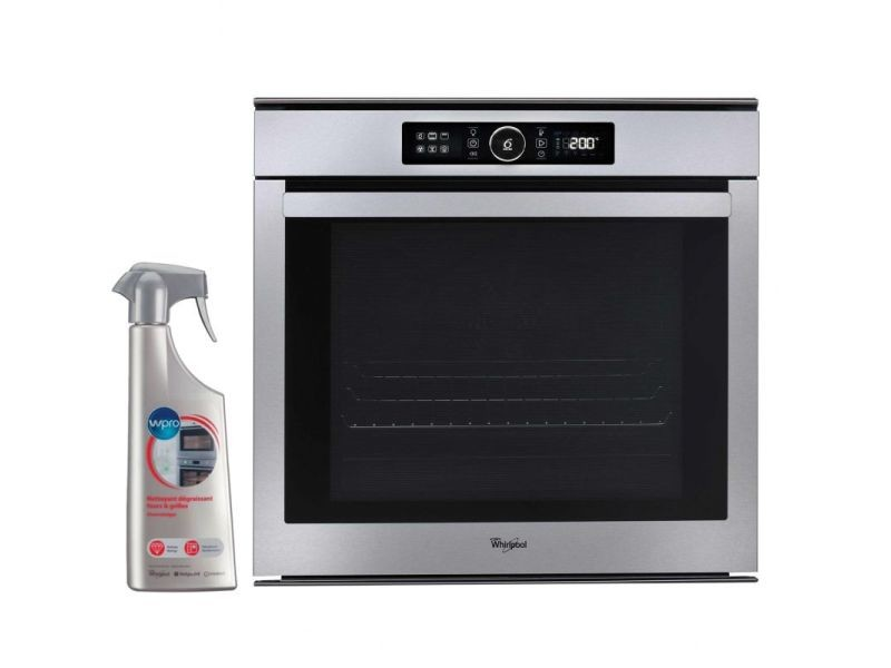 Four pyrolyse encastrable inox 73l multifonction porte froide