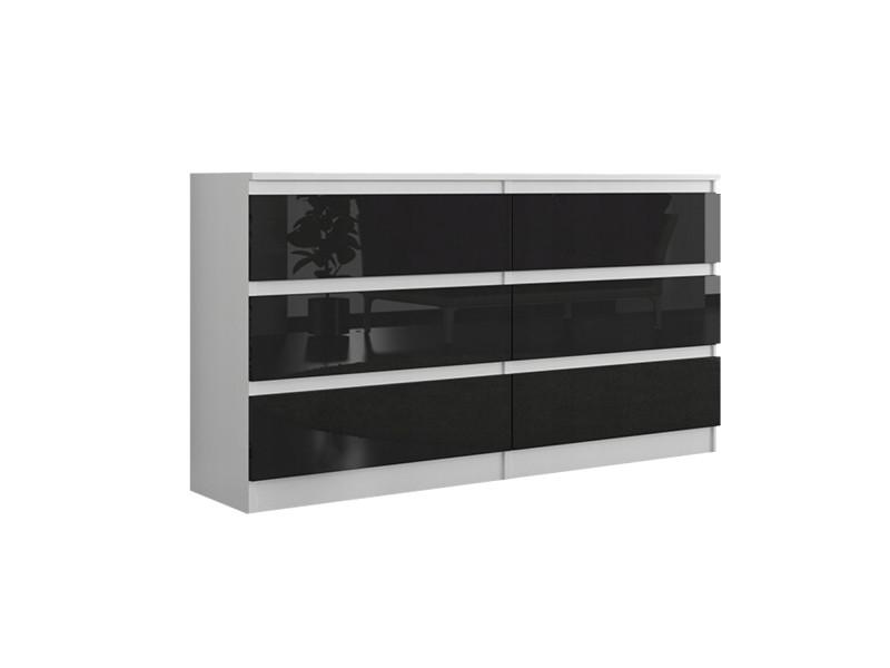 Munich w2 | commode contemporaine chambre salon bureau | 140x77x30 | dressing 6 tiroirs | meuble de rangement scandinave | blanc/noir laqué