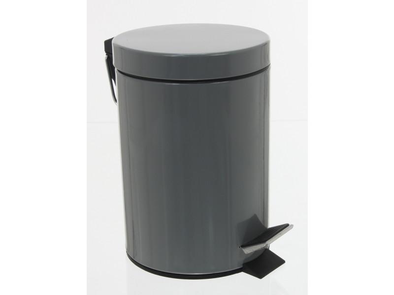 Poubelle 3l métal coloris gris, hauteur 24 x diamètre 17 cm -pegane-