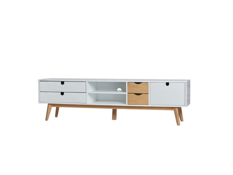 Meuble tv 4 tiroirs 1 porte blanc/bois - nano - l 180 x l 50 x h 37 - neuf