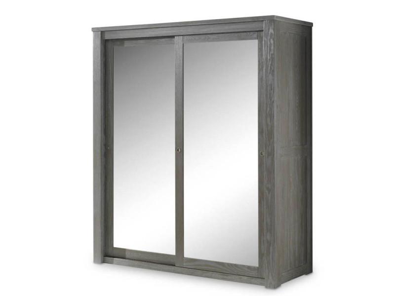 Armoire 2 portes coulissantes miroir/bois massif gris - gabriel - l 180 x l 64 x h 202 - neuf