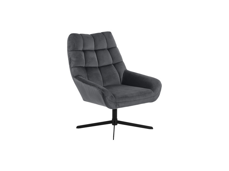 Fauteuil pivotant design en velours gris anthracite king