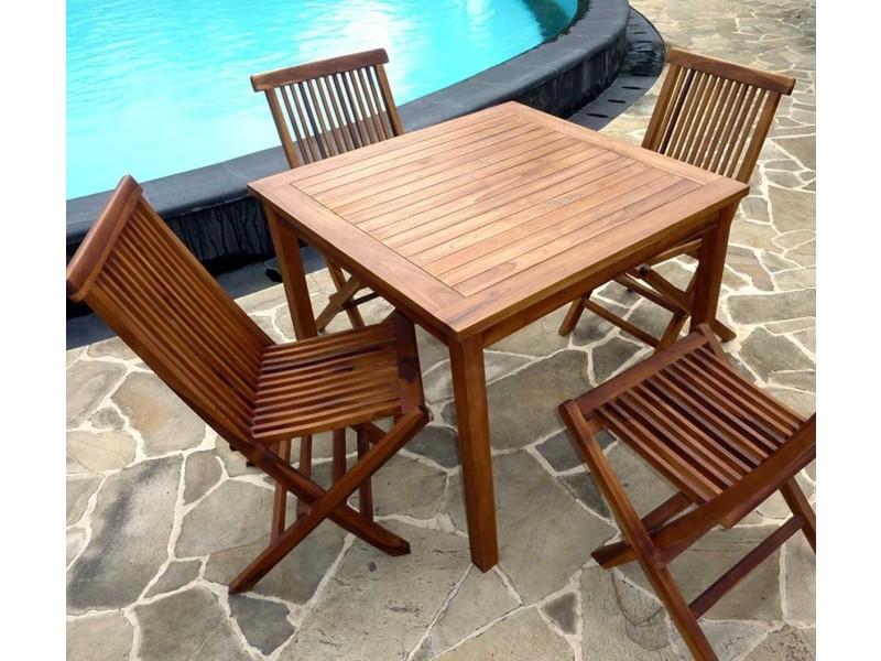 Ensemble table en teck carré 90 cm avec 4 chaises de jardin - Vente ...