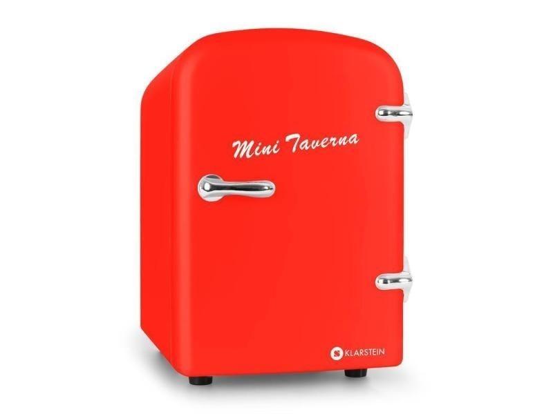 Klarstein mini taverna mini réfrigérateur à boissons 4l adaptateur 12v -rouge