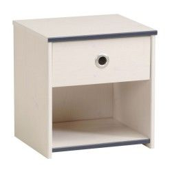 Table de chevet 1 tiroir pin blanc - oggy - l 40 x l 33 x h 42 - neuf