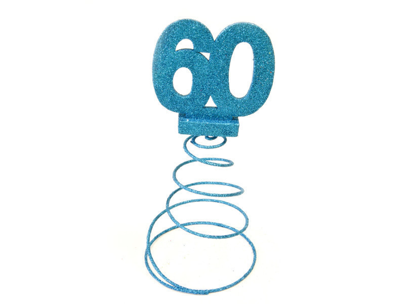 Centre de table pour anniversaire 60 ans - turquoise pailletée