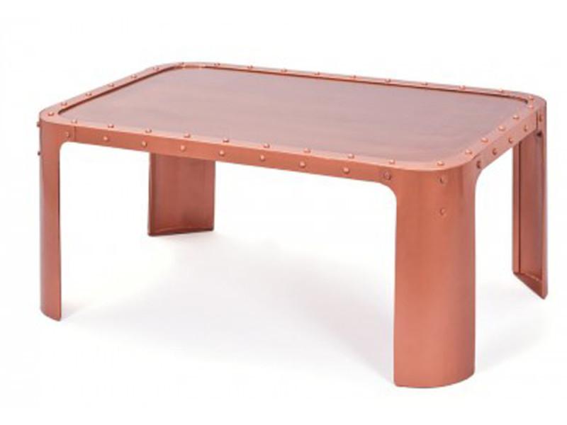 Table basse coloris cuivre en métal, 110 x 70 x 45 cm -pegane-