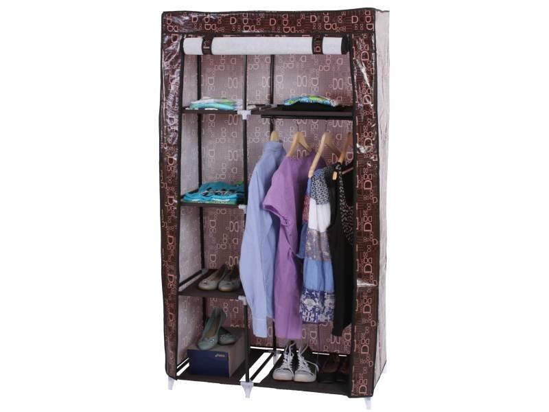 Armoire pliable, penderie de camping, garde-robe en tissu, 163x89x43cm