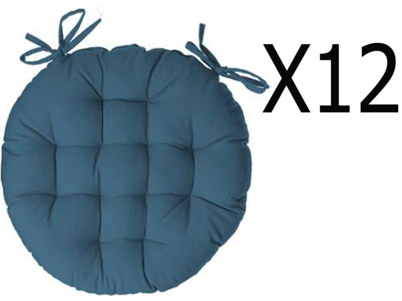 Lot De 12 Galettes Chaise Ronde En Coton Coloris Bleu Canard