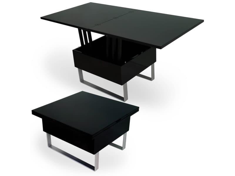 Table basse relevable multifonction woods laqué noir