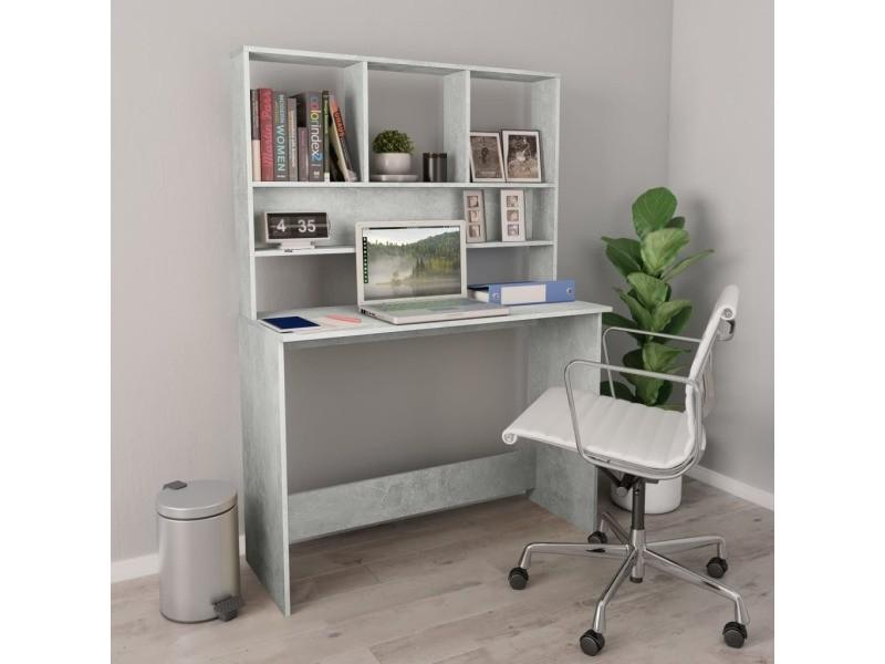 Stylé meubles de bureau ensemble port-louis bureau avec étagères gris béton 110 x 45 x 157 cm aggloméré