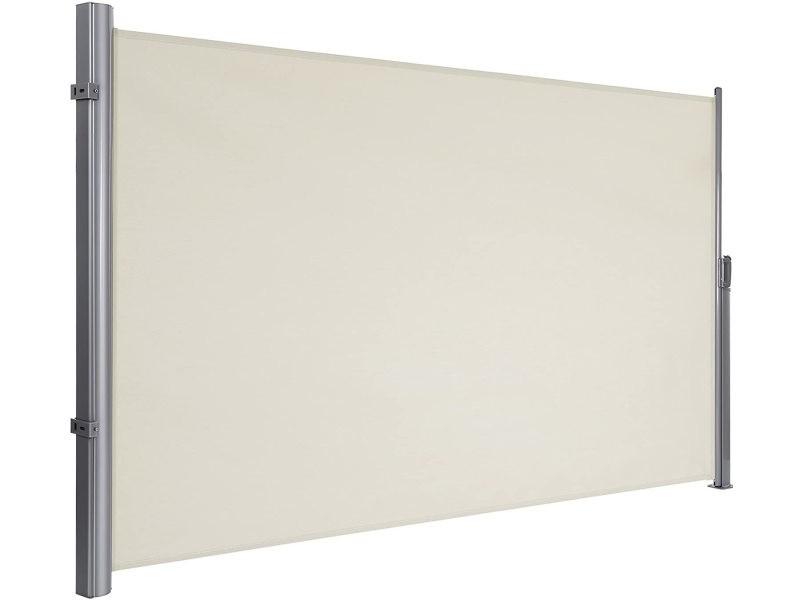 Songmics 180 x 400 cm (h x l), store latéral pour balcon et terrasse, pare-soleil, brise-vue protection vie privée, beige gsa184e01
