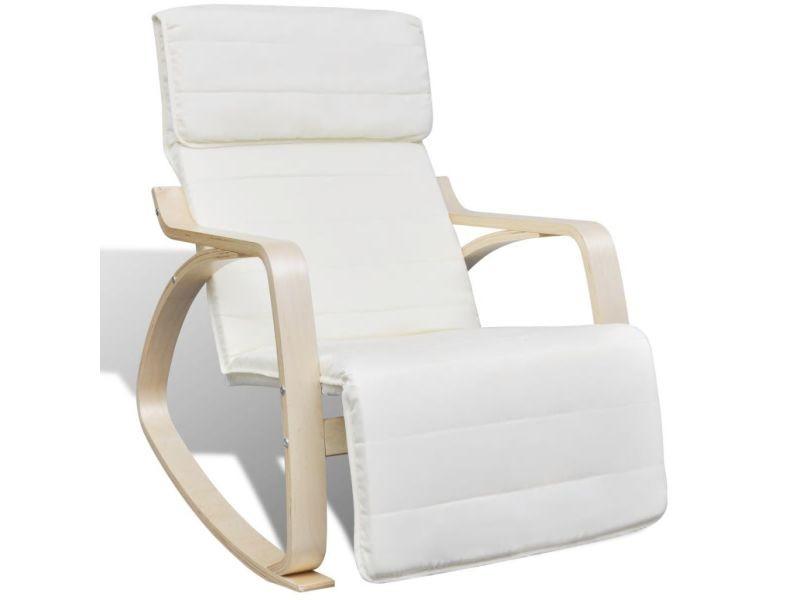 Vidaxl fauteuil relax à bascule avec cadre en bois cintré tissu réglable crème