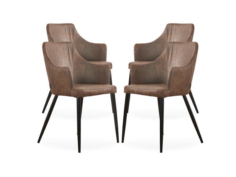 Lot de 4 chaises zarah en simili cuir marron - rembourrée