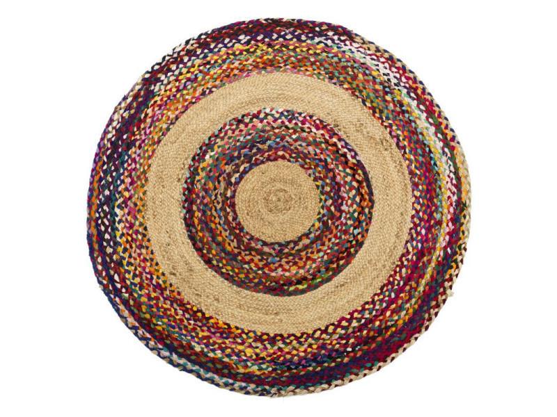 Tapis multicolore jute/coton 120*120 - sotali - l 120 x l 120 x h 0.5 - neuf