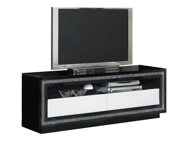 Meuble Tv Noir Et Blanc Laque Design Avec Decor Strass P