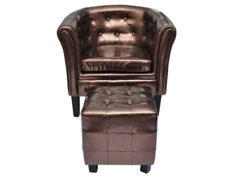 Fauteuil chaise siège lounge design club sofa salon cabriolet avec repose-pied cuir synthétique marron helloshop26 1102301