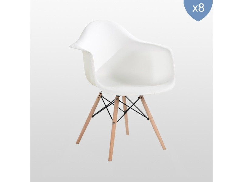 Lot de 8 chaises style scandinaves blanches ajie