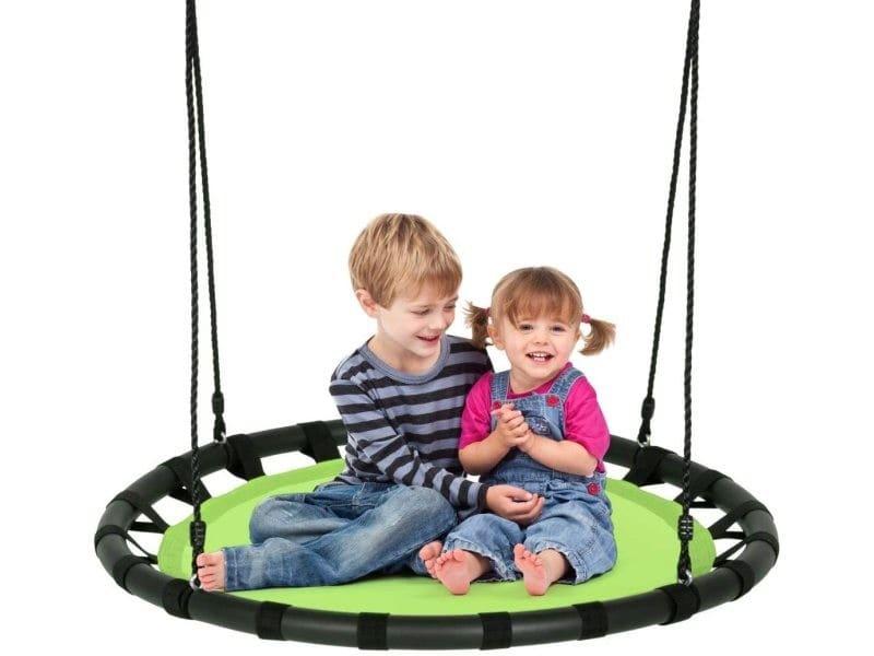 Giantex balançoire nid d'oiseau ronde ø100cm pour enfant hauteur réglable 100-160cm charge 150 kg avec cordes multicouches extérieur (vert)