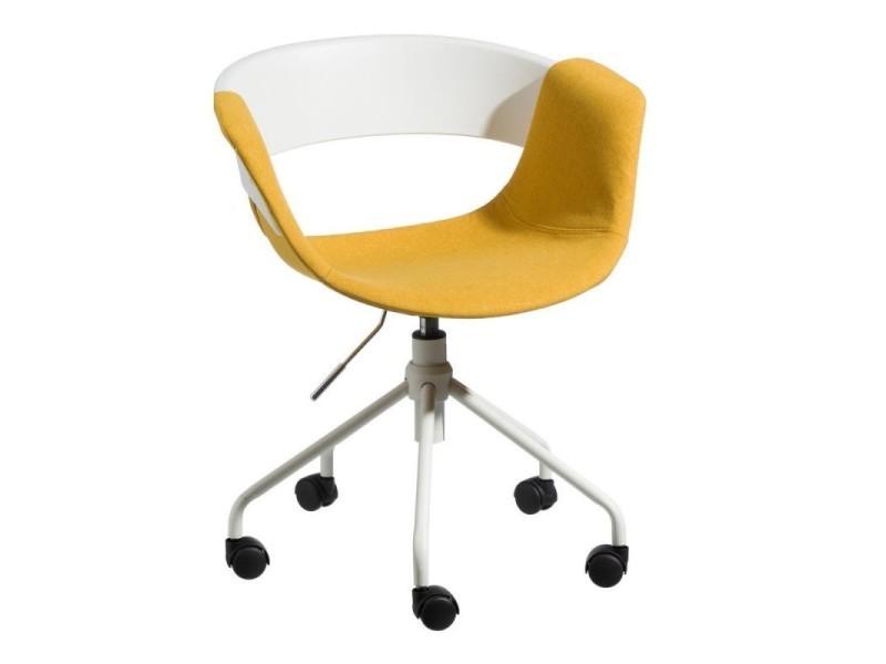 Chaise de bureau tissu jaune boogie l l h neuf
