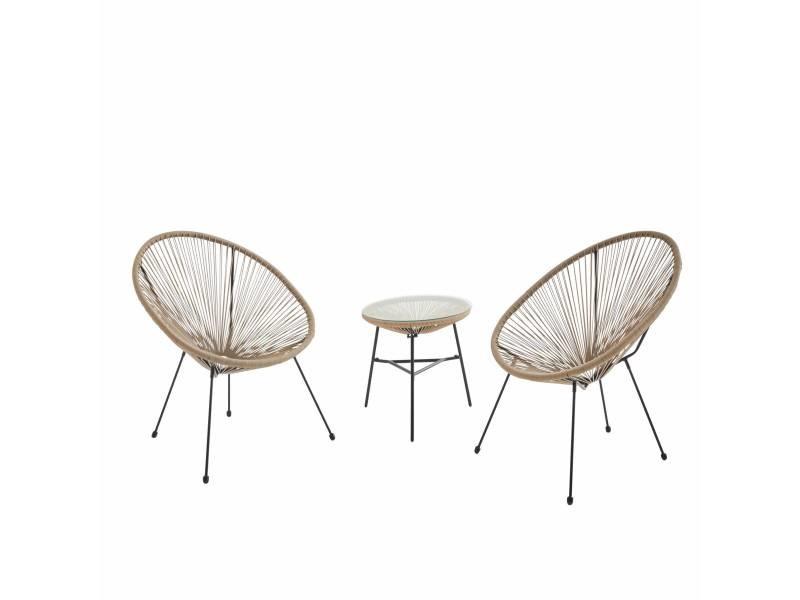 Lot de 2 fauteuils acapulco forme d'oeuf avec table d'appoint - naturel - fauteuils 4 pieds design rétro. Avec table basse. Cordage plastique. Intérieur / extérieur