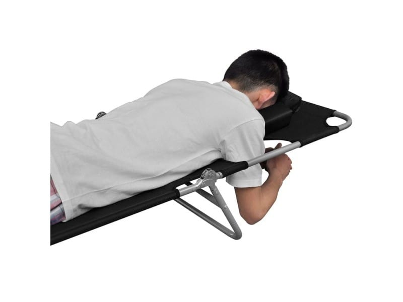 Icaverne - bains de soleil reference chaise longue pliable et coussin de tête dossier réglable noir