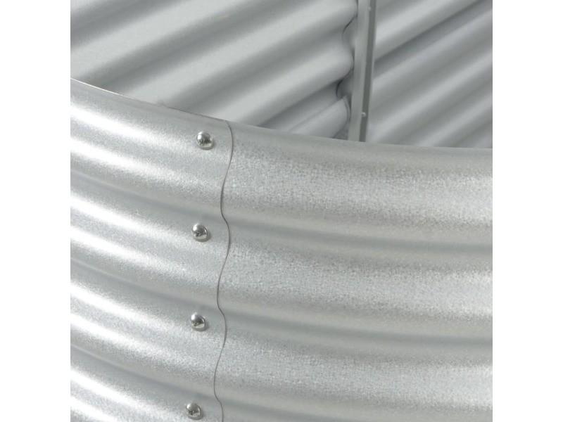 Icaverne - pots et cache-pots serie lit surélevé de jardin 240x80x44 cm acier galvanisé argenté