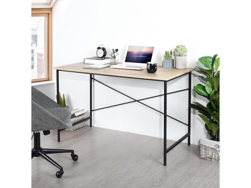 Bureau d'ordinateur bois métal