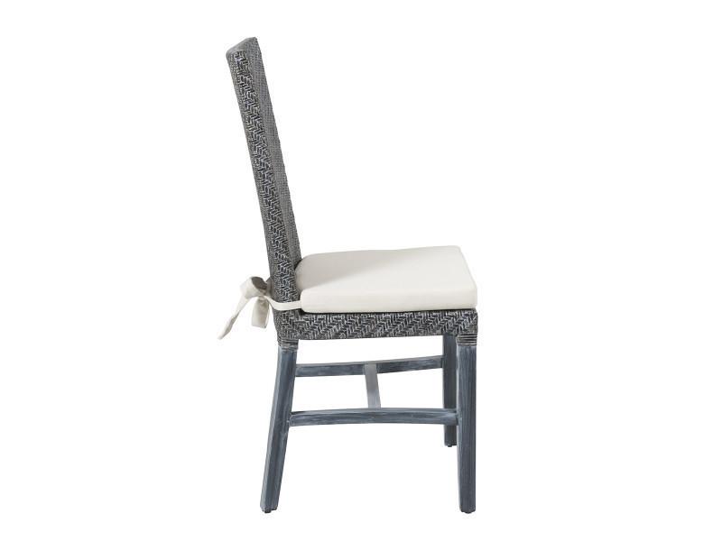 Soldes 36 lot 6 chaises en rotin grises ellen for Lot de 6 chaises conforama