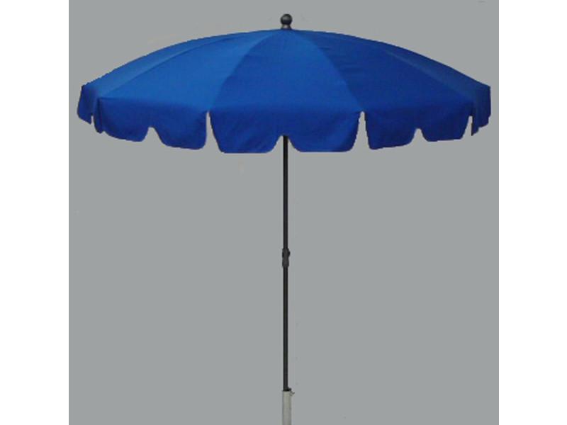 Parasol rond centré coloris bleu - dim : h 230 x d 200/10 cm - pegane -