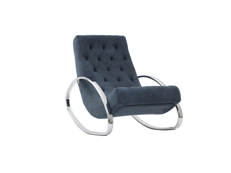 Rocking chair design effet velours bleu chesty