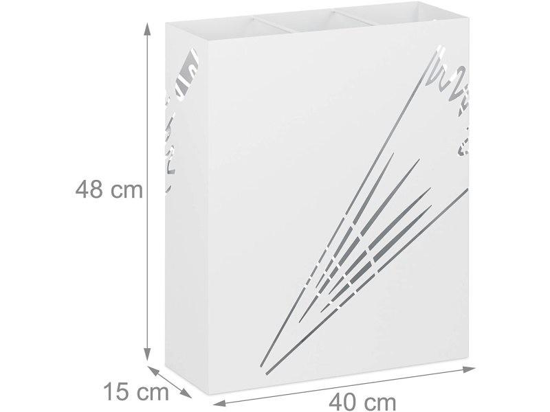 Grand porte-parapluie rectangulaire acier design blanc helloshop26 13_0002210