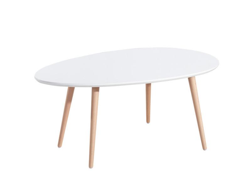 Stone table basse ovale scandinave blanc laque - l 98 x l 61 cm