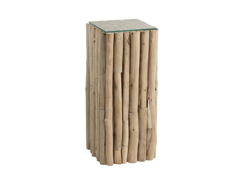 Sellette en bois flotté/verre - comcia - l 33 x l 33 x h 75 - neuf
