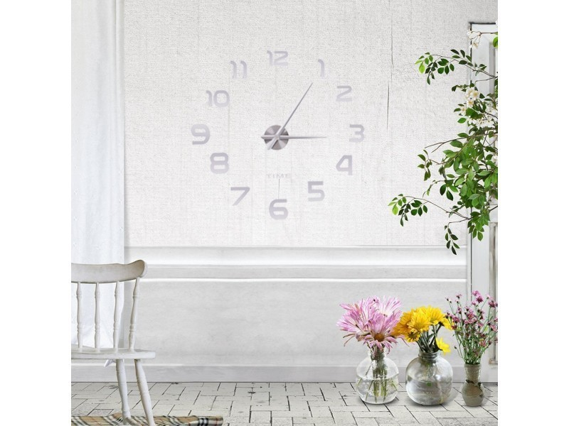 Grande horloge moderne murale silencieuse avec chiffres miroirs autocollants monter soi m me - Grande horloge murale moderne ...