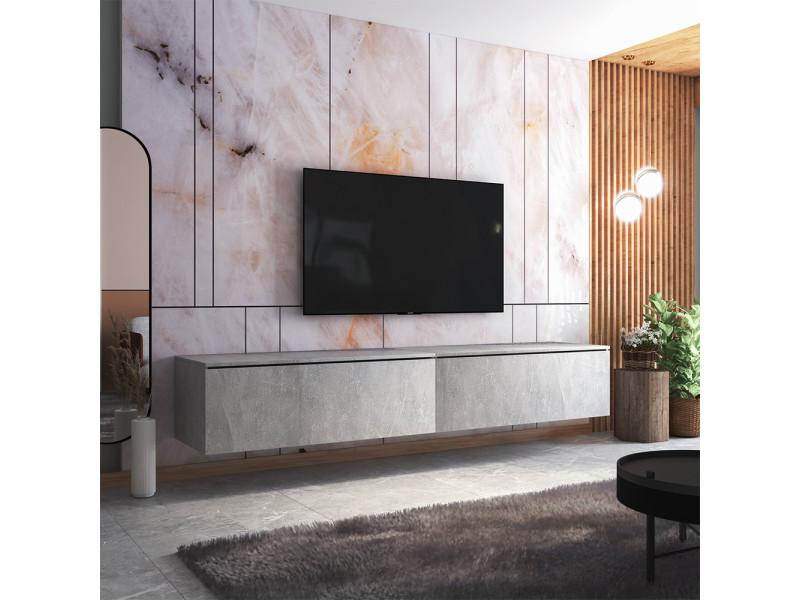 Meuble tv - skylara - 200 cm - béton